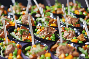 party catering, dishes, large group eating