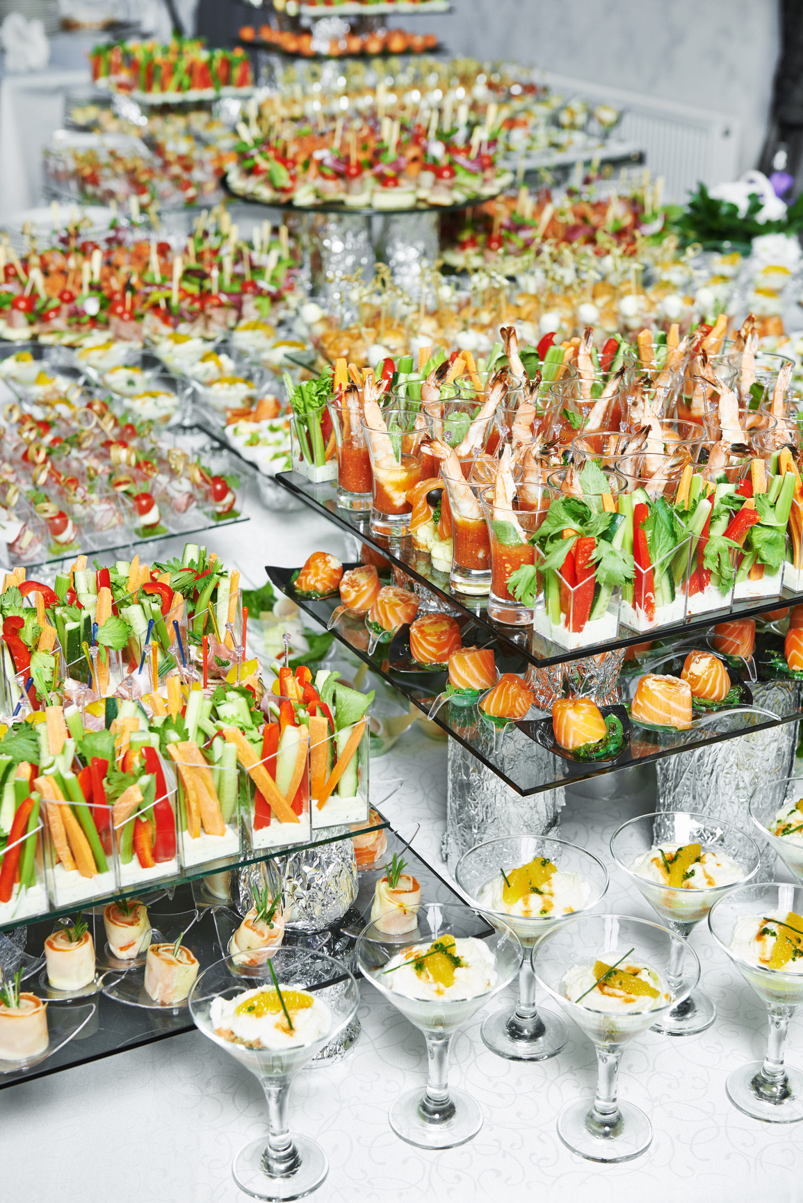 Corporate catering, outside caterers, full table spread